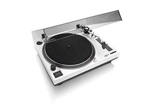 Lenco Plattenspieler L-3808 white mit Direktantrieb, USB, MMC, Digitalisierung über PC, abnehmbare Staubschutzhaube