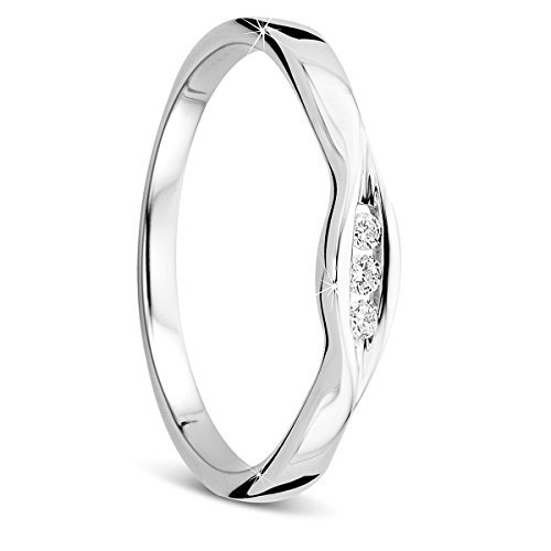 Orovi Damen-Ring Memoire HochzeitsringWeißgold 9 Karat (375) 3 Brillianten 0.05 carat Verlobungsring Diamantring