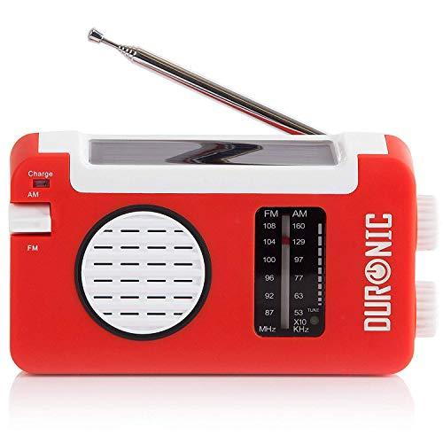 Duronic Hybrid Radio AM / FM – Solarenergie und USB-Ladegerät – Ideal für Camping, Wandern, zu Hause oder im Garten / Aufladbare Kurbel