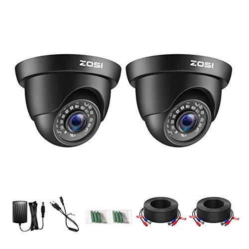ZOSI 2X Full HD 1080P Außen Dome Video Überwachungskamera Set mit Kabel und Netzteil, 2MP TVI Videoausgang, 20M IR Nachtsicht