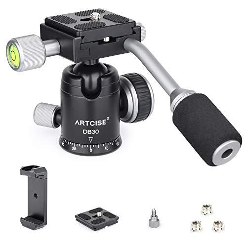 Stativkugelkopf mit Griff, ARTCISE D30T Ganzmetall-CNC-Panorama-Einbeinstativ-Kugelkopf-Kamerahalterung mit 2 1/4 'Schnellwechselplatten, maximale Belastung 10 kg