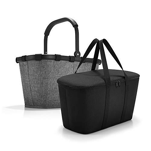 Set aus reisenthel carrybag BK + reisenthel coolerbag UH, BKUH Einkaufskorb mit passender Kühltasche, Twist Silver + Black (70527003)