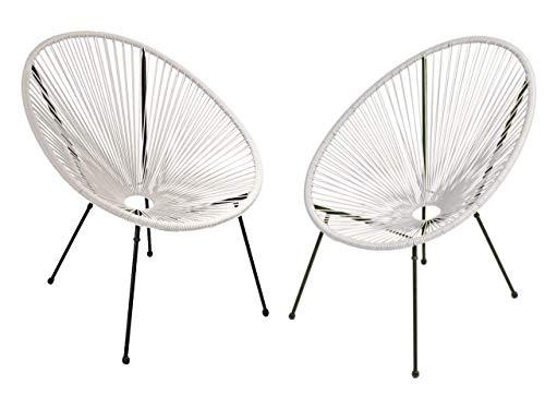 2X Gartensessel Relaxsessel Weiss Acapulco Style Garten Sessel Stuhl Terrasse