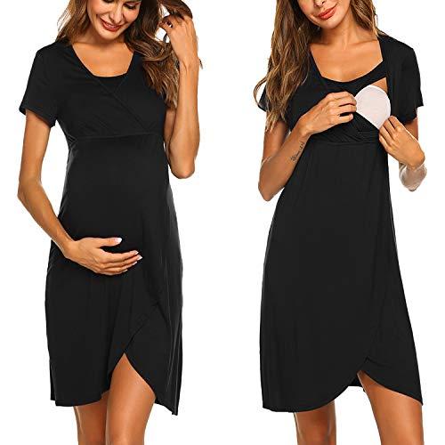 ADOME Nachthemd Damen Lang Stillnachthemd Modal Nachtkleid Umstandskleid Kurzarm Pyjama Negligee mit Taschen und Knopfleiste Schwarz S bis XXL