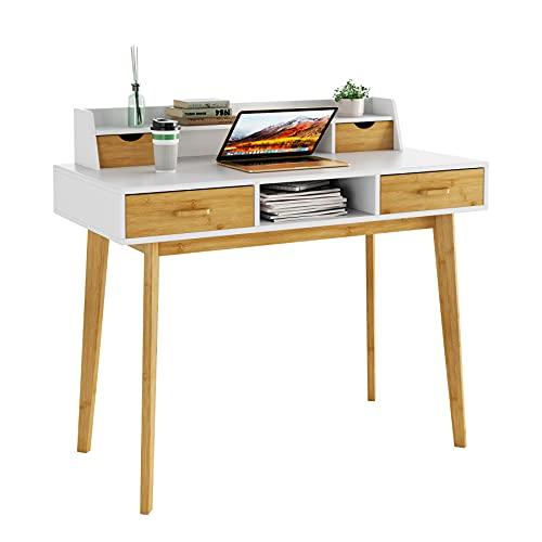 HOMECHO Computertisch Laptop-Schreibtisch mit Schubladen und Ablagen Arbeitsstation mit Kabeldurchlass für Homeoffice, Laptop und PC 95x108x52m