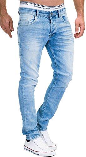 MERISH Jeans Herren Slim Fit Jeanshose Stretch Designer Hose Denim 9148-2100 (32-30, 9148 Hellblau)