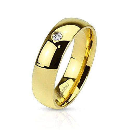 Mianova Band Ring Edelstahl poliert mit Kristall Herrenring Damenring Partnerring Verlobungsring Damen Herren Gold Breite 4mm Größe 48 (15.3)