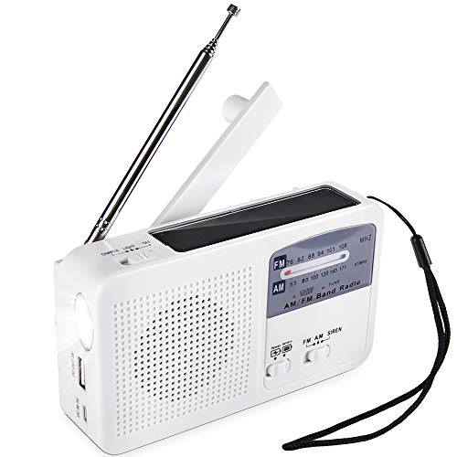 Tragbare Notradio Solar Dynamo Power wiederaufladbare Handkurbel FM/AM Radio drahtlose MP3 Player LED Taschenlampe Sirene tragbare Handy Ladegerät Power Bank für Camping Survival Reisen Wandern