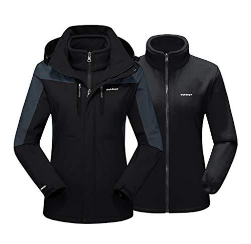 EKLENTSON Damen 3-in-1 Jacke Übergangsjacke Softshell Warme Winter Damenjacke für Winterwandern Abnehmbare Kapuze Schwarz, M