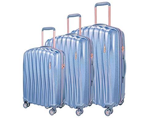 ABISTAB Verage Hartschalen-Koffer Glitter 3 teilig Kofferset mit Handgepäck S-M-L (Blau), erweiterbar, 4 Rollen S-PET Trolley TSA integriert