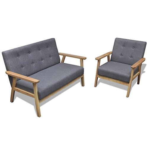 Festnight 2-teiliges Retro Holzsofa Set Sofa Retro-Sessel Wohnzimmersofa Holzsessel mit Armlehne Rückenlehne Grau