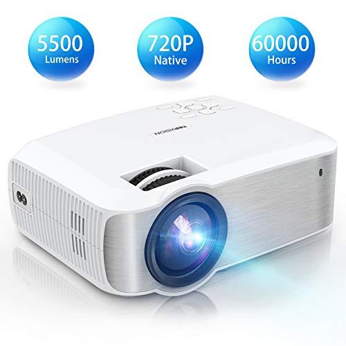 TOPVISION Mini Beamer, Native 720P Heimkino Beamer Unterstützt 1080P Full HD, 5500 Lumen Video Beamer mit 240'' Display, 60000 Stunden LED Projektor Kompatibel mit HDMI/USB/SD/AV/VGA