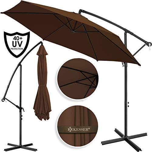 Kesser Alu Ampelschirm Ø 350 cm mit Kurbelvorrichtung UV-Schutz Aluminium Wasserabweisende Bespannung - Sonnenschirm Schirm Gartenschirm Marktschirm Braun
