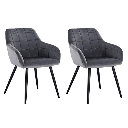 WOLTU Esszimmerstühle BH93dgr-2 2er Set Küchenstuhl Polsterstuhl Wohnzimmerstuhl Sessel mit Armlehne, Sitzfläche aus Samt, Metallbeine, Dunkelgrau