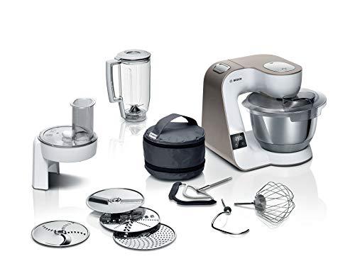 Bosch MUM5XW20 MUM 5 Küchenmaschine, integrierte Waage, große Edelstahlschüssel (3,9l), Profi-Patisserie-Set, Durchlaufschnitzler, weiß/champagner, 1.000 Watt