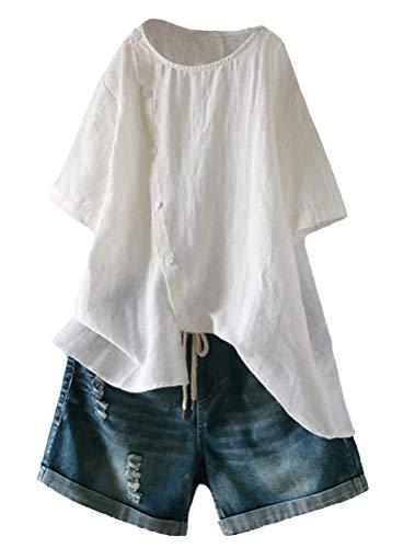 Mallimoda Damen Leinen Bluse Tunika Sommer Kurzarm T-Shirt Elegant Oberteil Weiß XXL