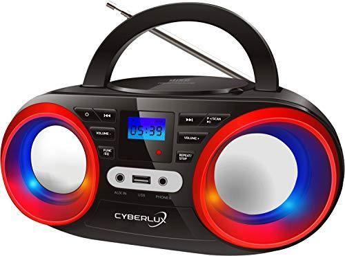 Tragbarer CD-Player | LED-Discolichter | Boombox | CD/CD-R | USB | FM Radio | AUX-In | Kopfhöreranschluss | 20 Speicherplätze | Kinder Radio | CD-Radio | Kompaktanlage (Black/Cherry Red)