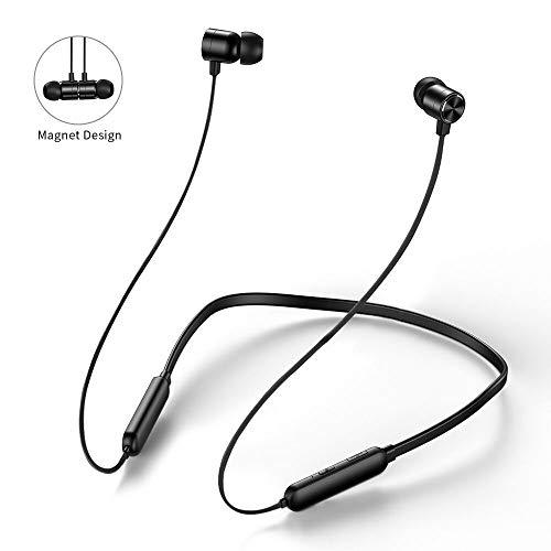 Bluetooth Kopfhörer Sport,Hotott Ohrhörer Bluetooth 5.0 In Ear Kopfhörer mit Nackenbügel und Magnetische Kabellose Kopfhörer, mit Wasserschutzklasse IPX6 für iPhone, Samsung, Huawei usw. (Schwarz)