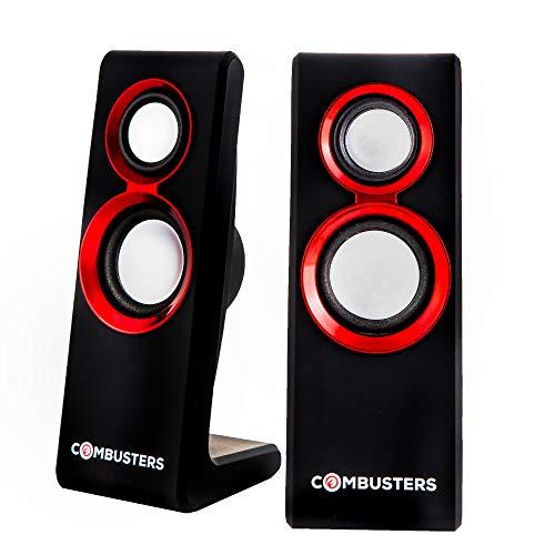 Combusters USB Design Lautsprecher Box Boxen Pc Tower Computer Laptop Notebook schwarz rot Speaker System 2.0 extern I mit Lautstärkeregler Kopfhöreranschluss I Strom + Audio via USB