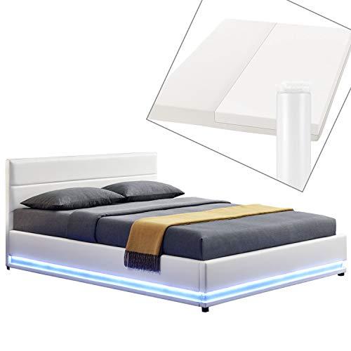 ArtLife Polsterbett Toulouse 180x200 cm – Bett mit Matratze, Lattenrost, Kopfteil, LED & Stauraum – Modernes Bettgestell - Bezug aus Kunstleder Weiß