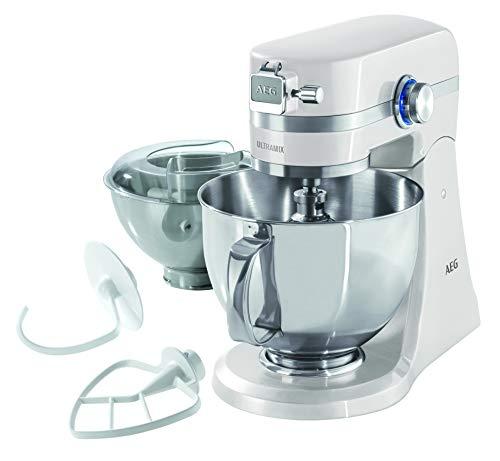 AEG KM 4100 Küchenmaschine (Inkl. Zubehör, 1,4 PS, 10 Geschwindigkeitsstufen, LED-Licht, planetarisches Rührwerk, Voll-Metall-Gehäuse, 4,8 l und 2,9 l Edelstahl-Rührschüsseln mit Spritzschutz, weiß)