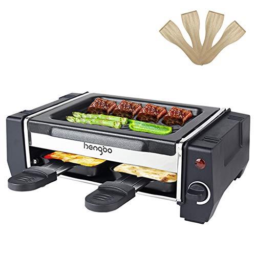 Raclette 2 Personen Mini Raclette Grill Raquelette für Zwei Personen mit 2 Pfännchen und 4 Holzspatel, Leichte Reinigung Antihaftbeschichtung - Regelbarer Thermostat - 500W