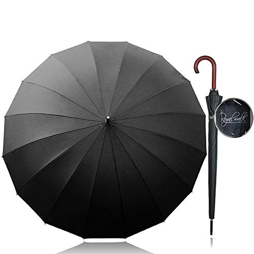 Royal Walk Groß XXL 54 inch Automatik Reise Golf Regenschirm für Damen und Herren Sturmfest Windsicher Leicht Klassisch für 2 Personen Holzgriff Wasserabweisend 16 Rippen Unisex Schwarze 120cm