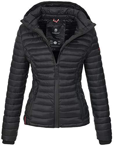 Marikoo Damen Jacke Steppjacke Übergangsjacke mit Kapuze gesteppt B600 [B600-Samt-Schwarz-Gr.XS]