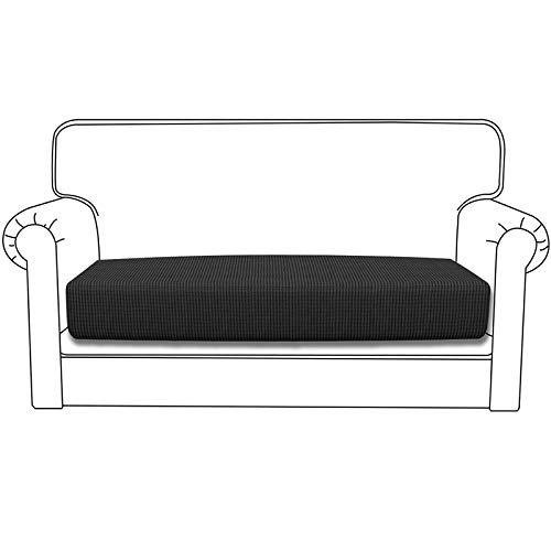 Silingsan Premium Sofa Sitzkissenbezug Sitzkissenschutz Jacquard Elastische Spandex Couchbezug High Stretch Sofasitzbezug für Sofa rutschfest Möbelschutz (2 Sitzer, Dunkelgrau)