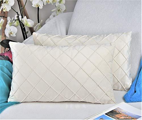 Amitis 2er-Set Gitter Samt Kissenbezug Falten mit verstecktem Reißverschluss Sofakissen Glänzend Weich Einfarbig Modern Dekokissen für Wohnzimmer Schlafzimmer (Beige, 30 x 50 cm)