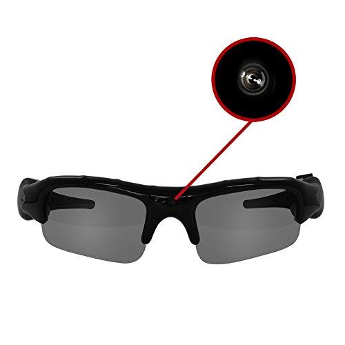 Eaxus® Action Videobrille/Spionbrille/Kamerabrille. Actionkamera mit Sonnenbrille - Mini Kamera und Mikrofon. Versteckte Videokamera, Camcorder VGA Überwachungskamera.