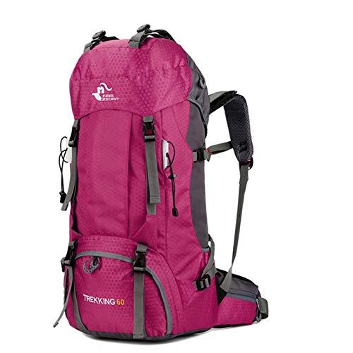 free knight 60L Wasserdichter Rucksack, ultraleichter, packbarer Kletterfischer Reiserucksack Tagesrucksack, handliche Faltbare Camping Outdoor-Rucksack-Tasche mit Regenschutz (Pink)