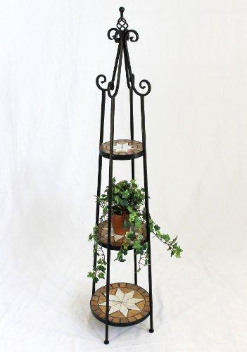 DanDiBo Blumenregal Mosaik Rund 137 cm Blumentreppe 12009 Blumenständer Blumensäule Pflanzenständer Groß