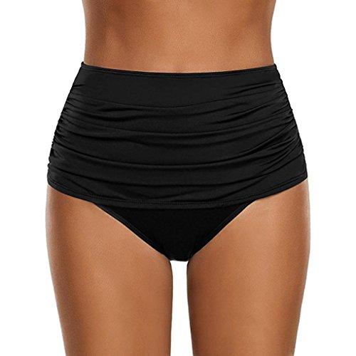 OverDose Damen Plus Größe Badehose Frauen hoch taillierte Badehose Geraffte Bikini Hosen Schwimmen Shorts Swim Shorts (Black,L)