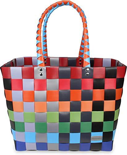 normani Einkaufstasche Shopper geflochten aus Kunststoff - robuster Strandkorb Vintage Style 38cm x 25cm x 28cm Farbe Classic/Fruit