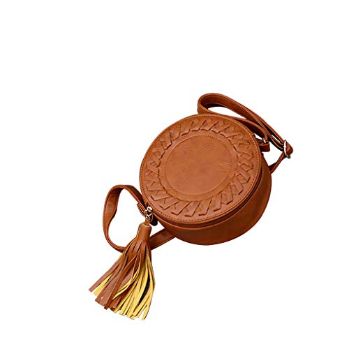 Dorical Tasche Umhängetasche Damentasche Damen Freizeit Rund Klein Handtaschen mit Quaste/Niedlich Crossbody Taschen Schultertasche Mode Casual Citytasche mit Reißverschluss für Frauen(Braun)