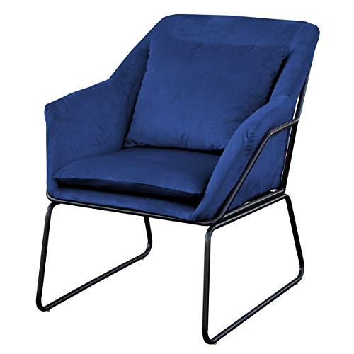 SVITA Josie Sessel gepolstert Beistellsessel Lounge Couch Einzelsofa Relaxsessel Seat Fernsehsessel Stoff inkl. Kissen Stuhl Samt (Blau, Samt)