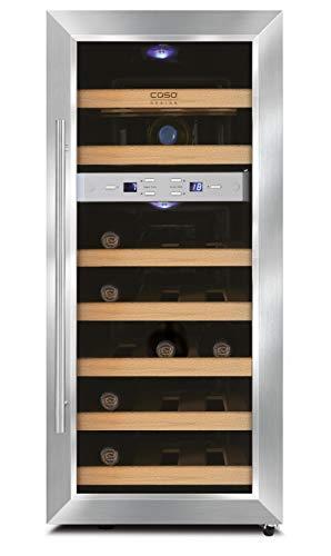 CASO WineDuett 21 | Weinkühlschrank für 21 Flaschen Rotwein | 2 Zonen für 7-18°C und 10-18°C, LED, 9 Böden aus Holz, UV-Filterglas, Edelstahl