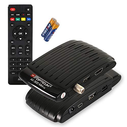 RED OPTICUM AX 300 mini V3 Sat Receiver PVR I Digitaler Satelliten-Receiver HD - externer IR Sensor mit LED Display - HDMI - USB I 12V Netzteil ideal für Camping I Receiver für Satellitenschüssel