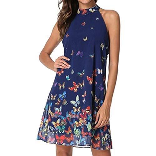 Damen Kleider Sommer O Ausschnitt Ärmellos Sexy Strandkleid Jeanskleid Kleid Großer Größe Kleid Baumwolle Chiffon Schmetterling Bedruckt Partykleid Rückenfreies Langes Kleid (EU:38, Blau)