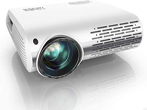 Beamer,YABER Beamer 8000 Lumen,Native 1080P Beamer,Beamer Heimkino Full HD mit ±50°4D Trapezkorrektur Unterstützt 4k & Zoom,LCD LED Projektor Kompatibel mit Telefon,PC,TV Box,PS4 (White)