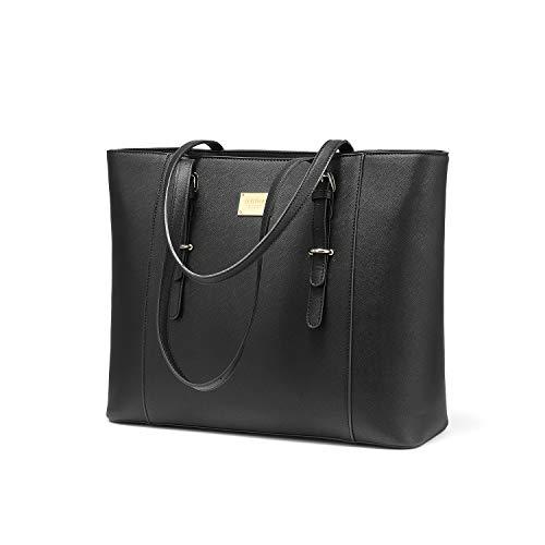 LOVEVOOK Laptop Handtasche Damen Groß, Schwarz Elegant Business 15.6 Zoll Laptoptasche Aktentasche Arbeitstasche, Wasserdicht Shopper PU Leder für Studenten Lehrer