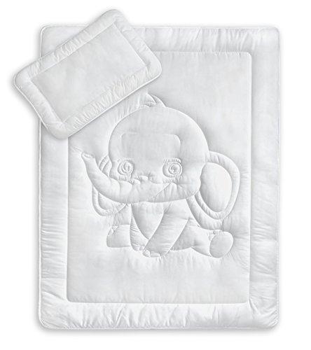 Oeko-Tex Kinder Bettdecken Set mit süßer Elefantensteppung 40x60 + 100x135 cm kochfest 95° C