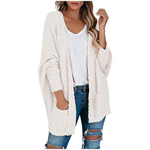 Lazzboy Store Strickjacke Damen Lang Frauen Popcorn Langarm Open Front Pockets Übergroße Einfarbig Mehrere Farben Verfügbar Cardigan Sweater Mäntel (Weiß,L)