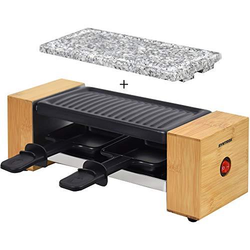 Syntrox Germany RAC-320W Biel Holzdesign Raclette mit antihaftbeschichteter Grillplatte und Natursteinplatte (Heißer Stein) für 2 Personen, Holz
