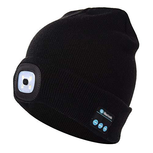 Bluetooth Beanie Music Hat mit LED-Licht Windproof und Snowproof Headset Musik Kopfbedeckungen Cap mit Wireless Stereo Kopfhörer Headset Kopfhörer Lautsprecher für den Winter Outdoor-Sport Laufen, Ski