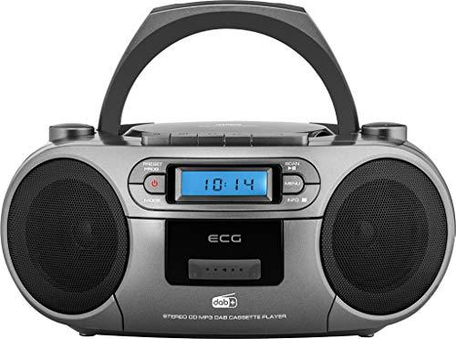 ECG CDR 999 DAB DAB+ / FM-Radio mit CD/Kassetten-Player, Silver
