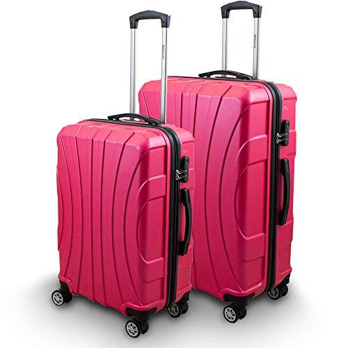 BERWIN Kofferset L + XL 2-teilig Reisekoffer Trolley Hartschalenkoffer ABS Teleskopgriff Modell Strike (Pink)