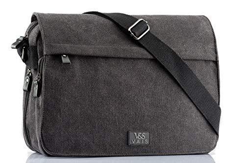 VAIS Premium Umhängetasche - in hochwertiger Qualität – Spritzwassergeschützt - aus robusten Canvas – ideal für Arbeit, Uni, Schule und Freizeit – passend für Tablets und Slim Laptops bis 14Zoll