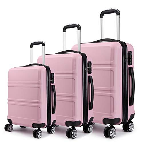 Kono Hartschalen Koffer Trolley Rollkoffer Reisekoffer 4 Zwillingsrollen 3er Kofferset in M-L-XL-Set (Pink)